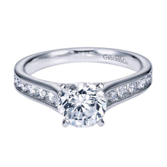 Flared Channels Fancy Solitaire Diamond Engagement Mounting in White Gold