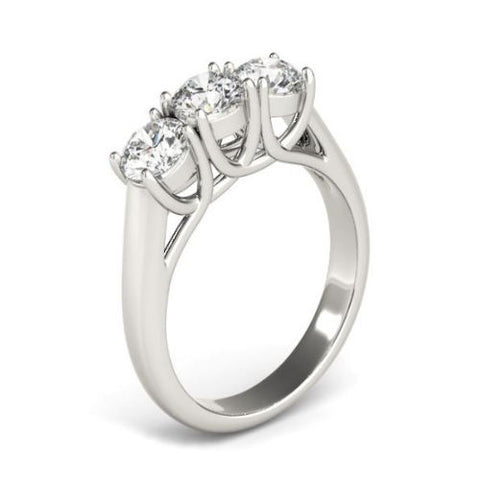 Classic Three Stone Diamond Engagement Ring in White Gold