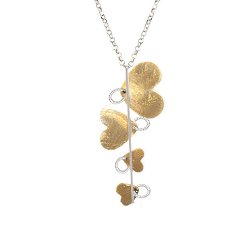 Sterling Silver and Yellow Gold Hearts Necklace by Frederic Duclos