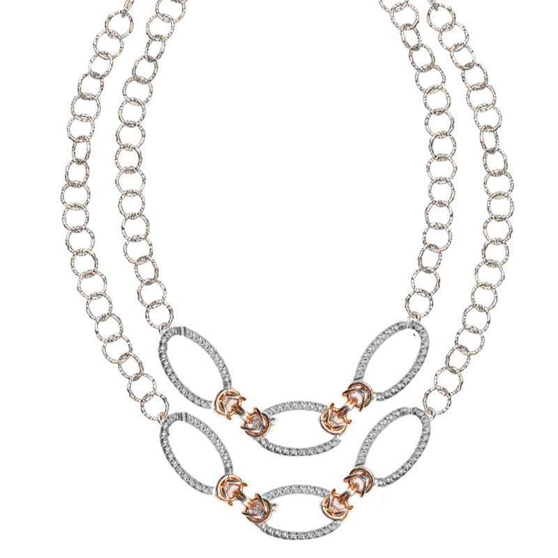 Sterling Silver and Rose Gold Double Strand Necklace by Frederic Duclos