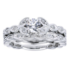 Vintage Inspired Scalloped White Gold Diamond Band
