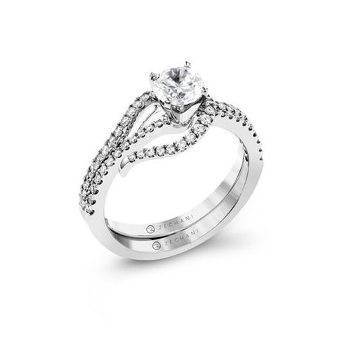 Simon G Pave Engagement Ring and Wedding Band Set