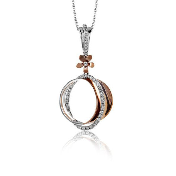 Zeghani White and Rose Gold Circle Pendant