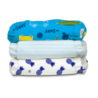3 Diapers 6 Inserts Surf Rider One Size Hybrid AIO