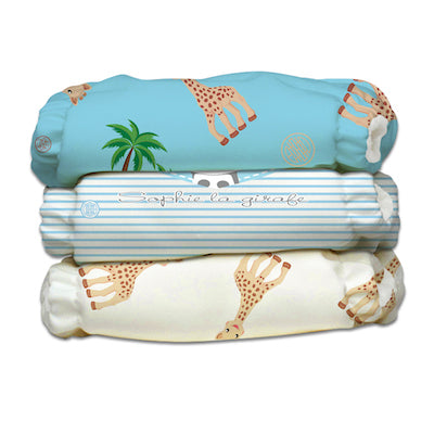 3 Diapers 3 Inserts Blue Sophie La Girafe X-Small