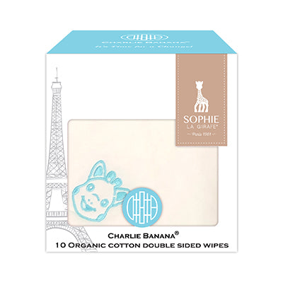 10 Double Sided Wipes Sophie La Girafe Blue