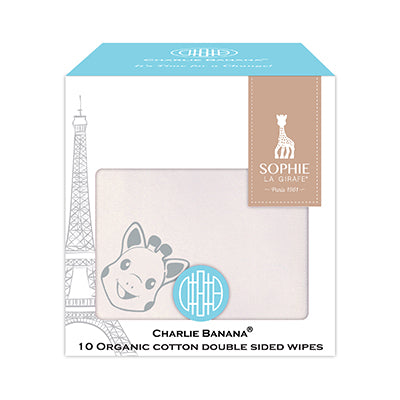 10 Double Sided Organic Wipes Sophie La Girafe Grey