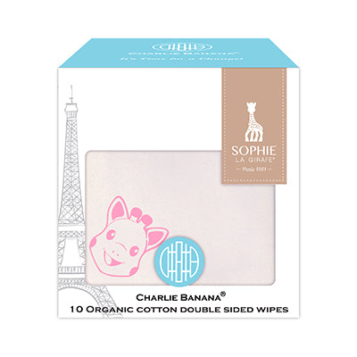10 Double Sided Wipes Sophie La Girafe Pink