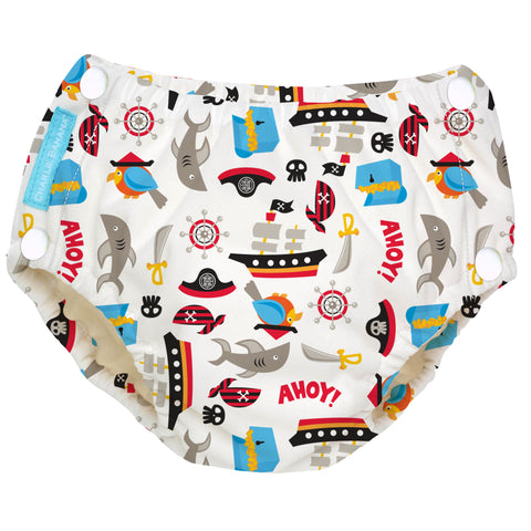 Reusable Easy Snaps Swim Diaper Pirate Medium