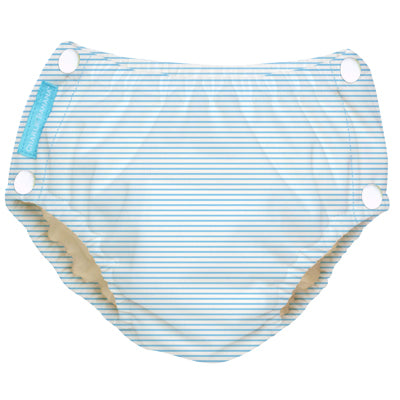 Reusable Easy Snaps Swim Diaper Pencil Stripes Blue Large