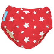 Reusable Swim Diaper White Stars Red Small
