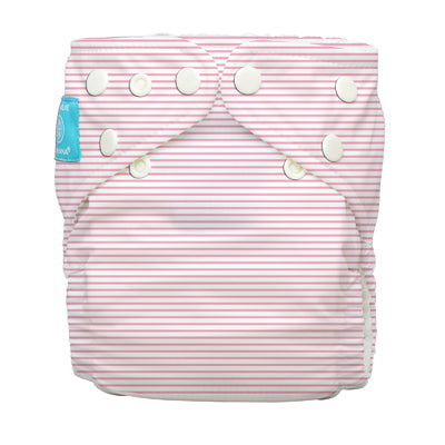 Diaper 2 Inserts Pencil Stripes Pink One Size Hybrid AIO