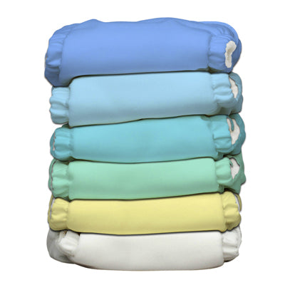 6 Diapers 12 Inserts Unisex Pastel One Size Hybrid AIO
