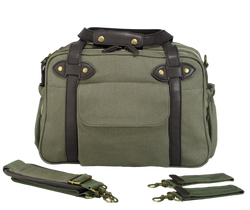 Khaki Green Charlie Diaper Bag w/Brown Handles