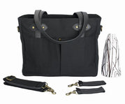Black Emerson Diaper Tote w/Black Handles