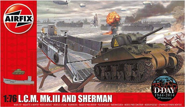 1:76 USA LCM and Sherman Tank