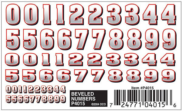 Beveled Numbers Dry Transfer D