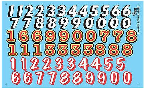 1:24 Race Car Numbers Decals
