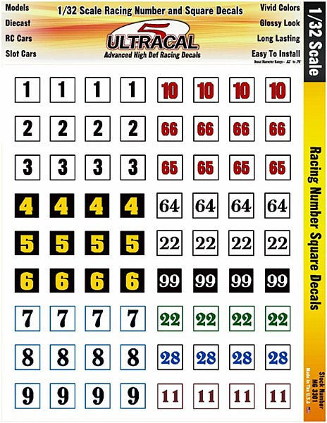 Racing Number Square Decals