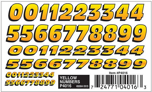Yellow Numbers Dry Transfer De