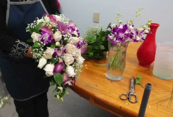 DIY Cascading Bridal Bouquet with Roses, Orchids & Calla Lilies