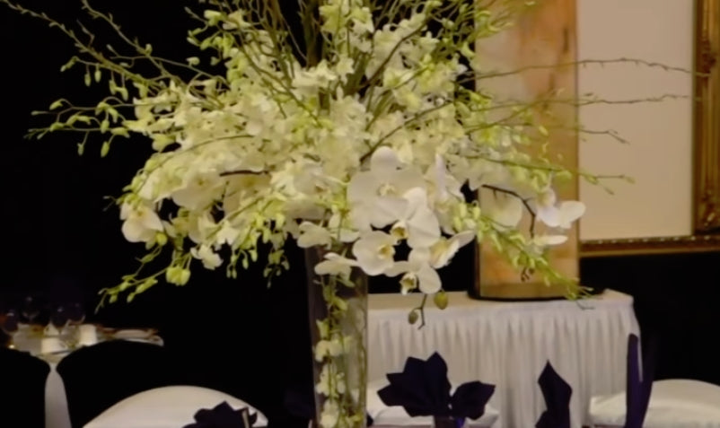 DIY Tall Centerpiece cascading white dendrobium orchids