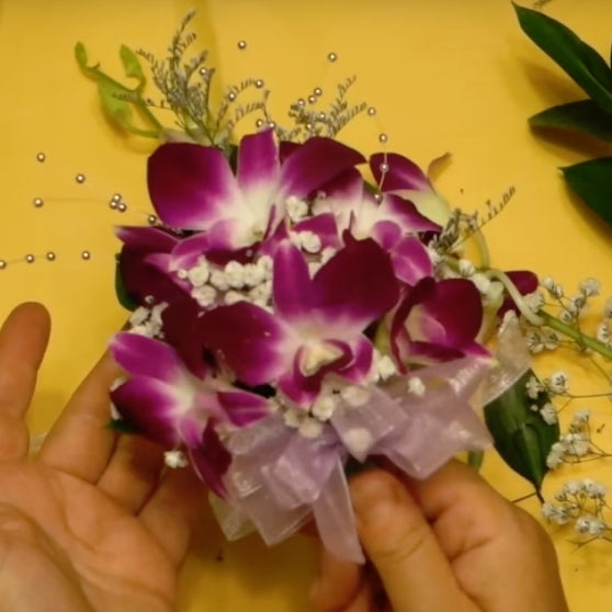 DIY how to make wrist corsage with dendrobium orchid sonia