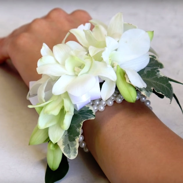 DIY how to make wrist corsage white dendrobium orchids