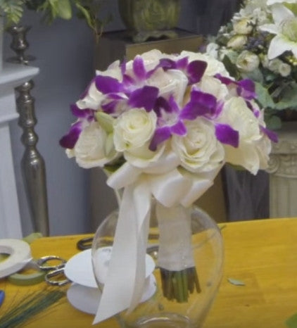 DIY Hand Tied Bridal Bouquet with Roses & Dendrobium Orchids