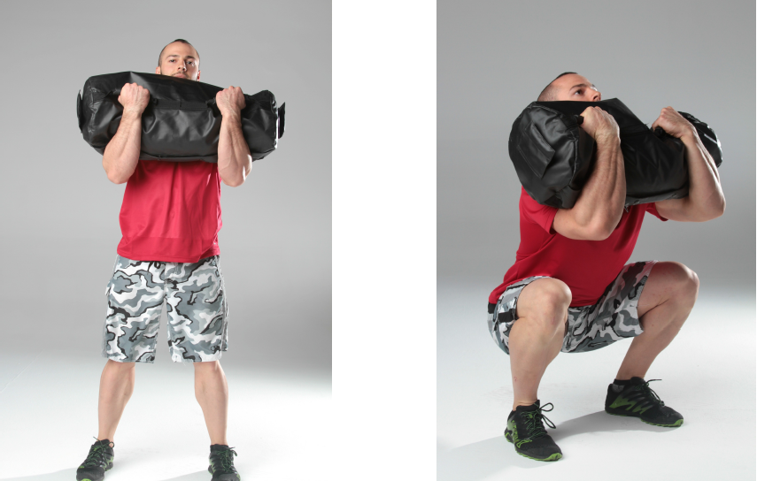 sandbag training - front loaded squat