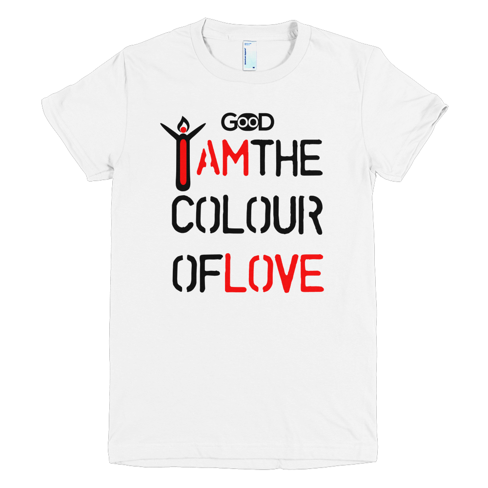 Design t shirt love - I Am The Colour Of Love Women T Shirt With Black Design