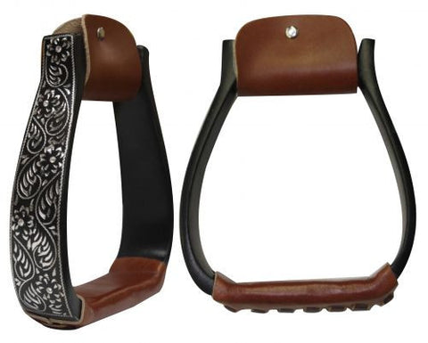 Floral Engraved Black Aluminum Stirrups
