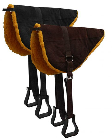 Showman Suede Leather Bareback Pad with Kodel Fleece Bottom.