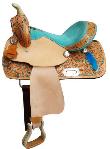Youth Saddle with Painted Feather Accents