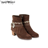 Buckle Style Leather Suede Western Booties with Fringe