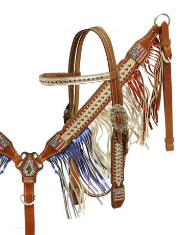 Showman Patriotic Metallic Fringe Headstall and Breast Collar set.