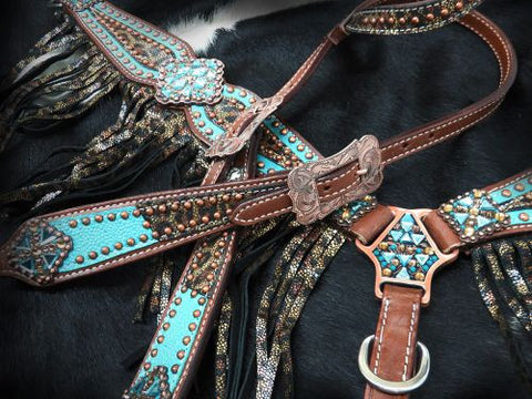 Bejewled Metallic Leopard Print Headstall Set