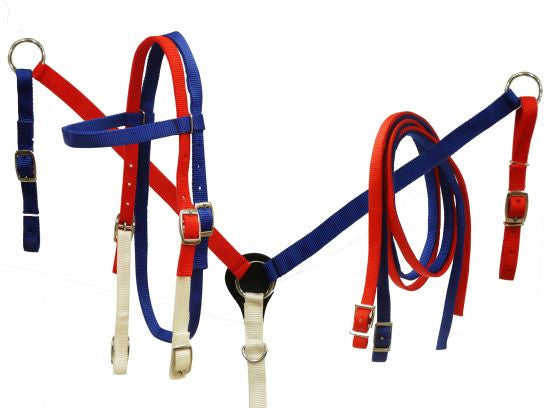 Red, White and Blue Nylon Headstall and Breast Collar Set