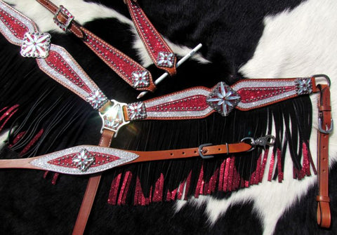 Red and Silver Glitter Overlay Fringe Headstall Set
