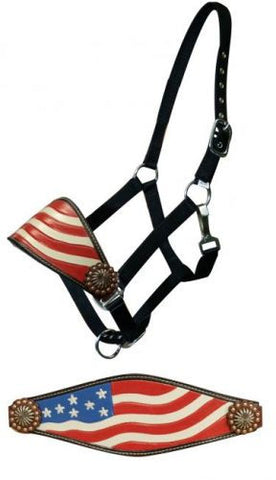 Hand Painted American Flag Bronc Halter