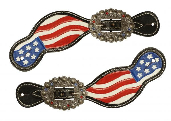 Hand Painted American Flag Spur Straps