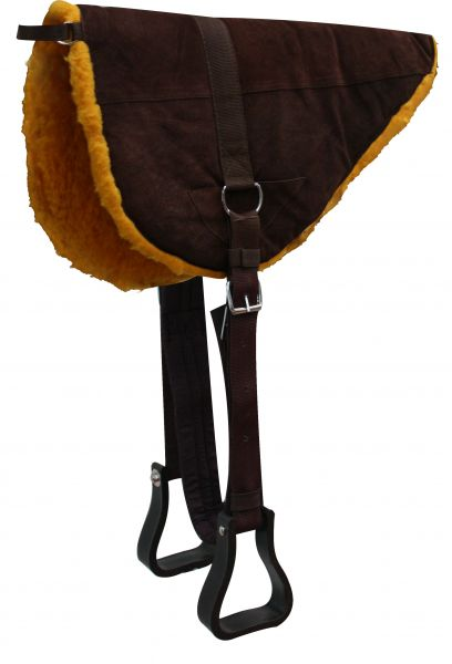 Brown Suede Leather Bareback Pad with Kodel Fleece Bottom