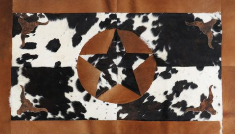 Western Star Cowhide Rug with Longhorn Accent