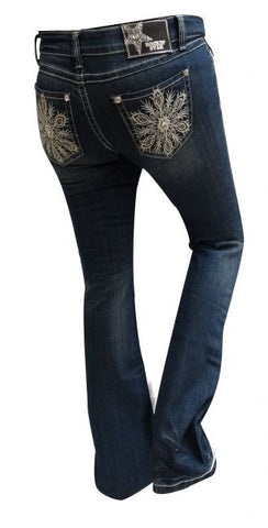 Rockin' Star Bootcut Jeans with Embroidered Snowflake