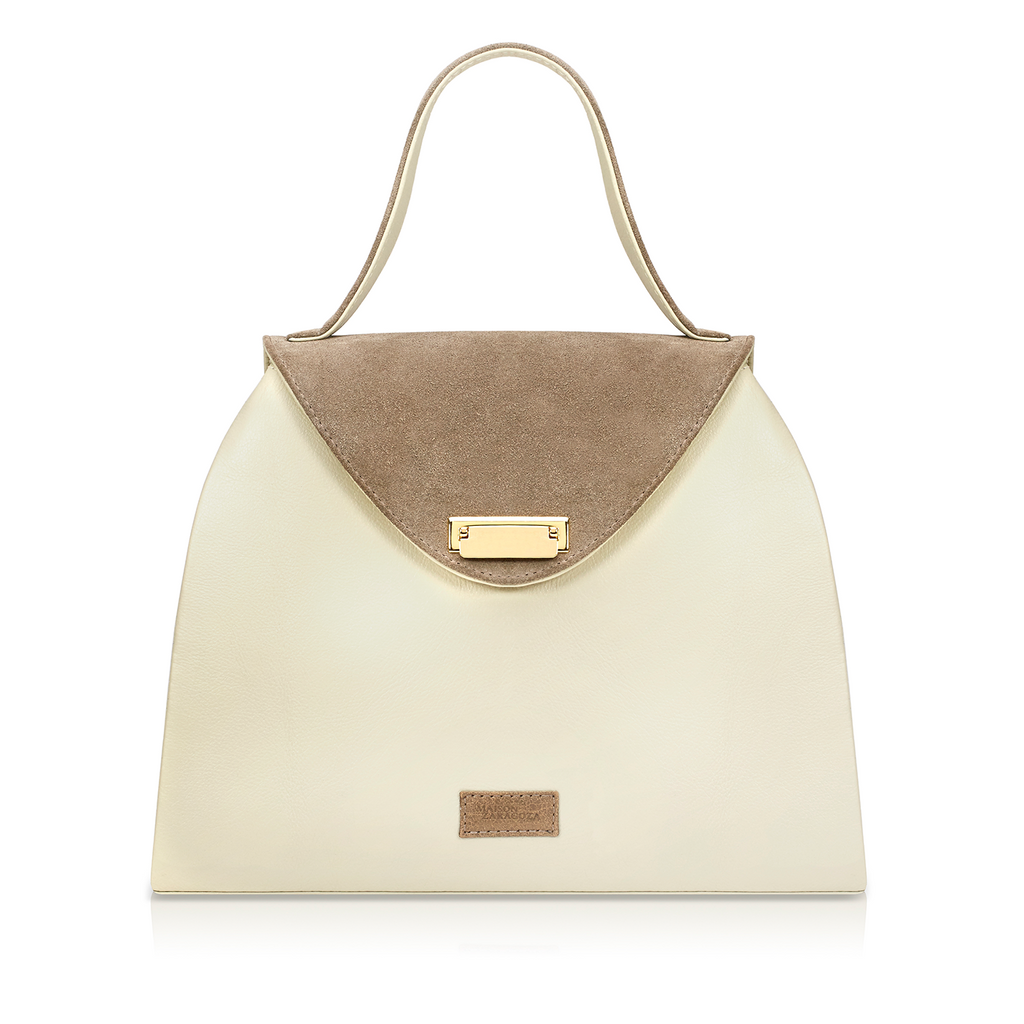 Sofia Structured Satchel - Bone/Taupe