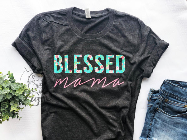 Blessed Mama- Dark Heather Grey