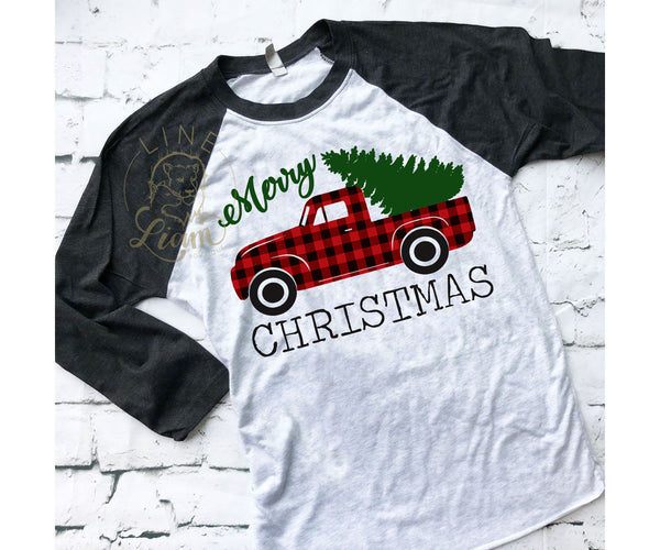 Plaid Christmas Trick - Heather White / Black Baseball tee