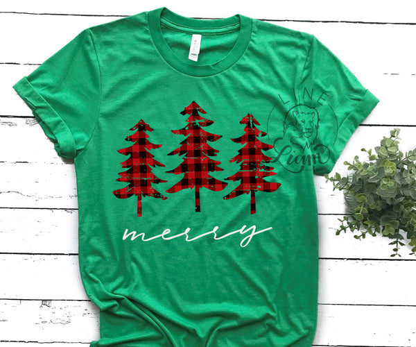 Distressed Plaid Tree- Crewneck or V-Neck Tee