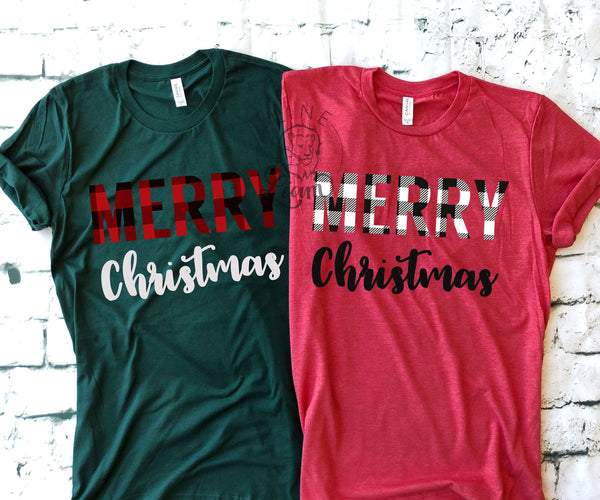 Merry Plaid Christmas- Crewneck or V-Neck Tee