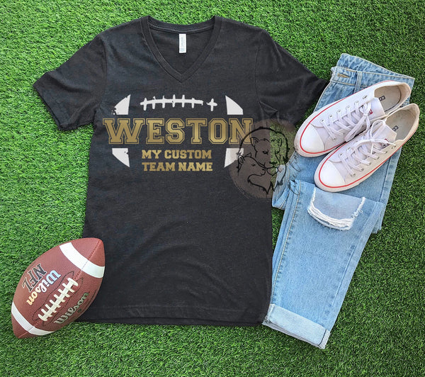 Custom Team Football Tee Adults + Kids